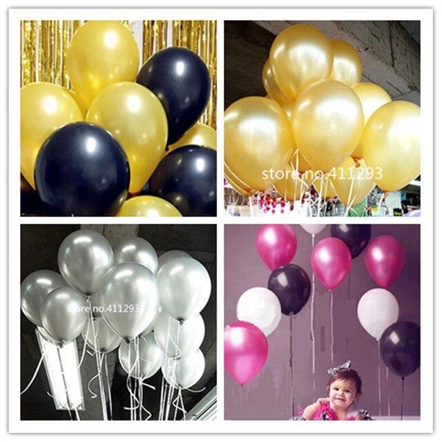 20pcs / lot  2.2g thicken Metallic ballons Pearl Balloons wedding balloon Birthday globes  pink blue black gold silver ballons