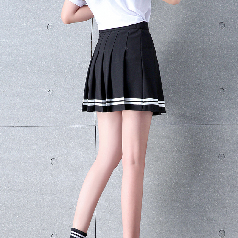 XS-XXL High Waist A-Line Women Skirt Striped Stitching Sailor Pleated Skirt Elastic Waist Sweet Girls Dance Skirt Plaid Skirt 4