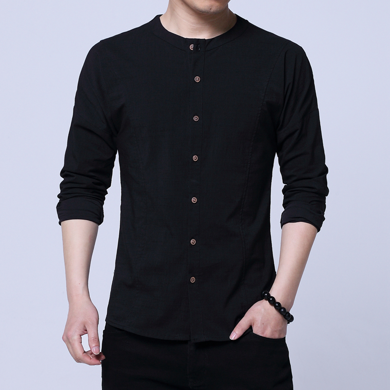 Chinese Retro Style Men Long Sleeve Shirts Cotton & Linen Fabric Shirt Mens Slim Design Black White Male Tops Size S-3XL