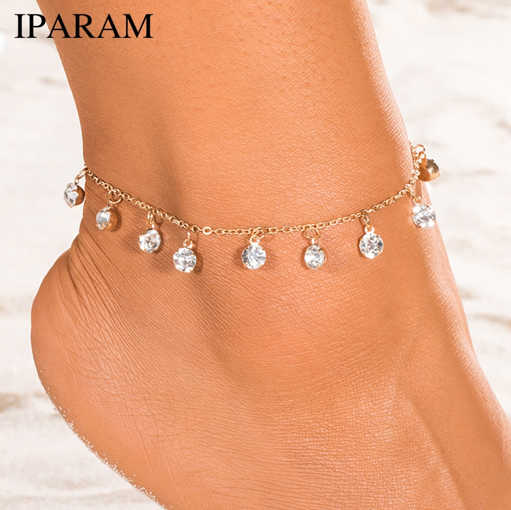 Vintage Fashion Pendant Crystal Anklet For Women Link Chin Bohemian Gold Silver Color Shoe Boot Chain Bracelet Foot Jewelry 2018