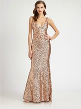 formal party gown free shipping vestido de festa robe soiree 2014 new fashion sexy long champagne paillette evening dress