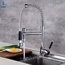 Ulgksd Весна поворотный кран кухня одной ручкой двойной Носик Deck Mount Латунь Кухня Раковина кран с смесители воды