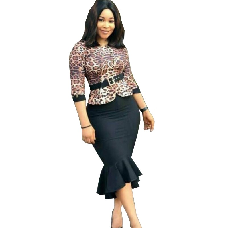 African Dresses For Women Leopard Print Dress 2019 New African Design Bazin 3/4 Sleeve Dashiki Dress For Lady Africa Clothing