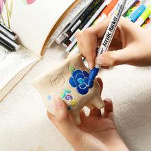 0.7mm akrylowy marker do malowania długopis szczegółowe znakowanie kolor farby długopisy do ceramicznego szkła rockowego kubek porcelanowy płótno z drewna