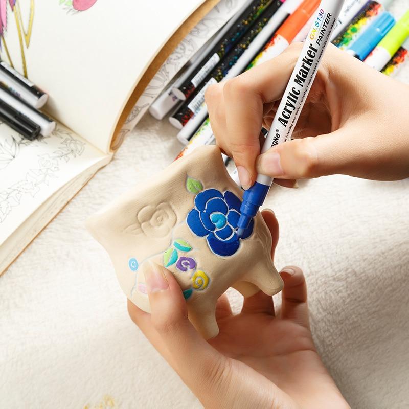 0.7mm Acrylic Paint Marker pen Detailed Marking Color Paint Pens for Ceramic Rock Glass Porcelain Mug Wood Fabric Canvas