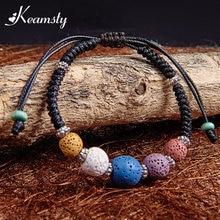 ФОТО Keamsty Women Trendy Bracelet with 5 Colors Round Volcanic Rocks Adjustable Length Rope Chain Bracelets  Design as