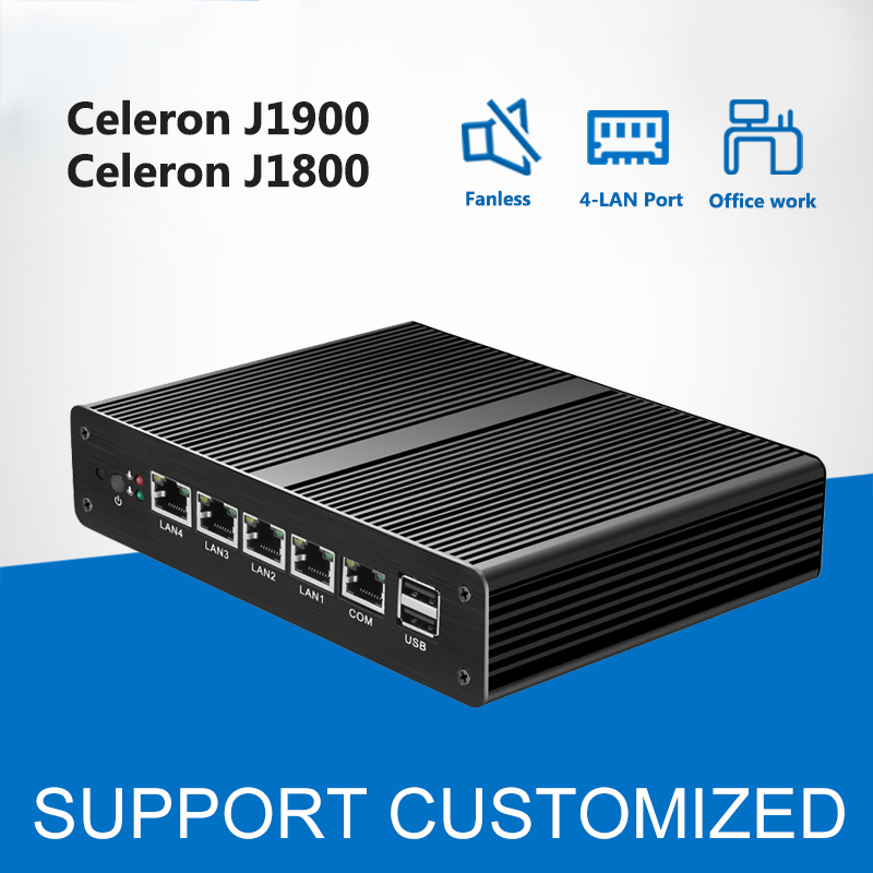 Fanless Mini PC Intel Celeron J1900 4*Gigabit LAN Ports Mini Computer Celeron J1800 Desktop Windows Router Firewall pfsense