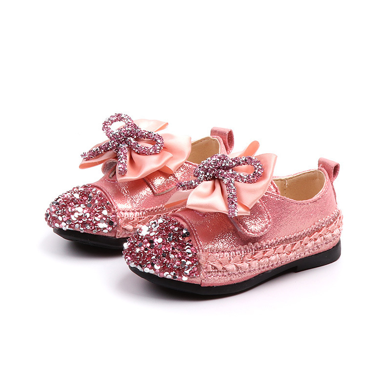 Girls Glitter Sneakers 2019 Fashion Loafers Girls Rhinestones Flat Princess Toddler Girls Dress Shoes Kids Floral Shoes For Girl