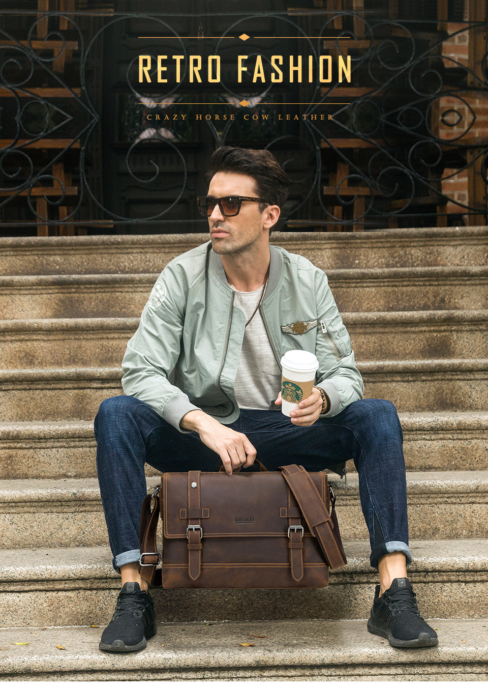 a guy sitting on the stairs holding a take away coffee and a genuine leather briefcase