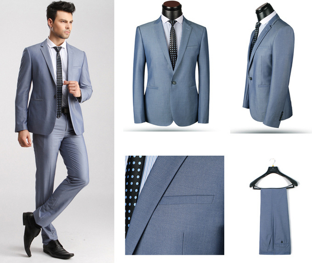 2014 Fashion Two Colors Single Breasted Men\'s Business Suit For ...