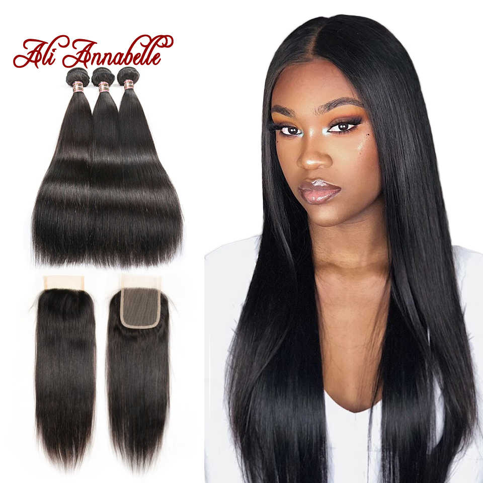 ALI ANNABELLE Straight Bundles With Closure Malaysian Hair Weave Bundles With Closure Human Hair Bundles With Closure Remy Hair
