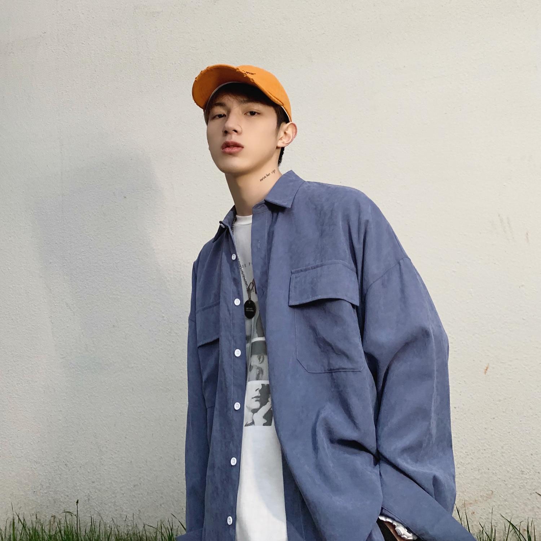 2019 Summer Korea Style Oversize Thin 3 Colors Fashion Streetwear Long Sleeve Solid Men Shirt