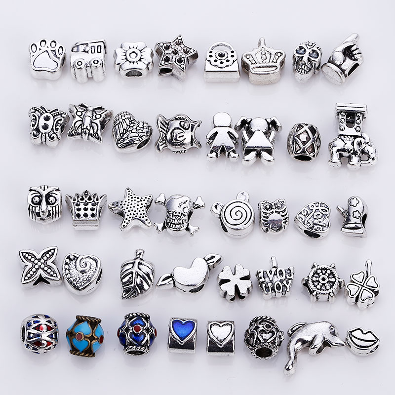 Vintage Silver Metal Beads fit Pandora Charms Fashion DIY Handmade European Beads & Jewelry Making 40 pieces/lot