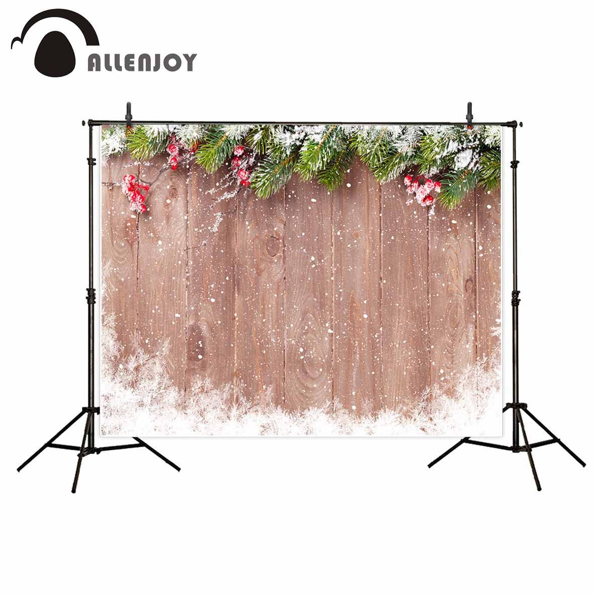 Allenjoy Christmas backdrop Wooden background snowflake pine branches red fruit photography backdrops christmas decoration vinyl