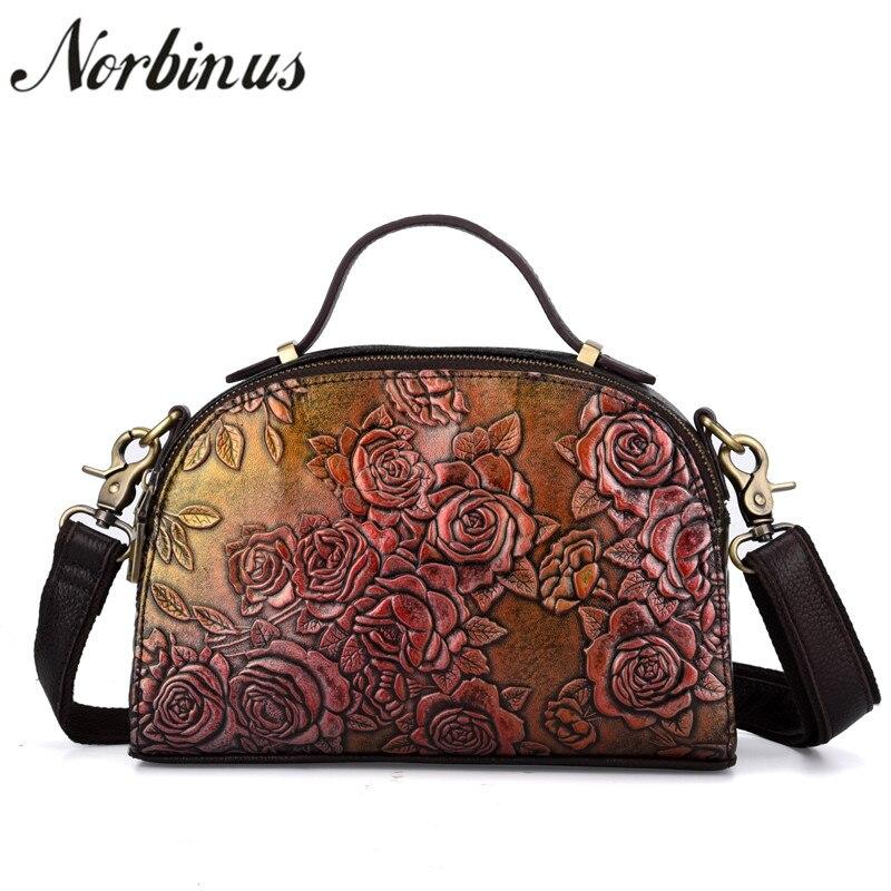 все цены на Norbinus 2018 Luxury Brand Women Shoulder Bag Female Genuine Leather Messenger Bags Crossbody Bags for Woman Flower Handbag Tote онлайн