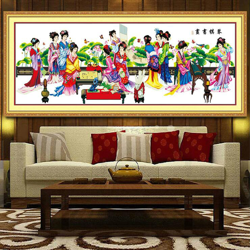 210*76 cm grande immagine tradizionale Cinese Bellezza 12 figure cross stitch kit modello stampato ricamo set soggiorno decor