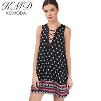 KMD KOMODA 2017 Summer Women Mini Dress Retro Tie Cross Sexy Lady Dress Geometry Print Deep