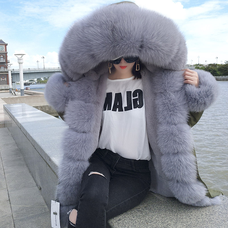 2018 new Casual winter jacket women fur coat real Fox fur collar thick warm faux fur Liner   parka