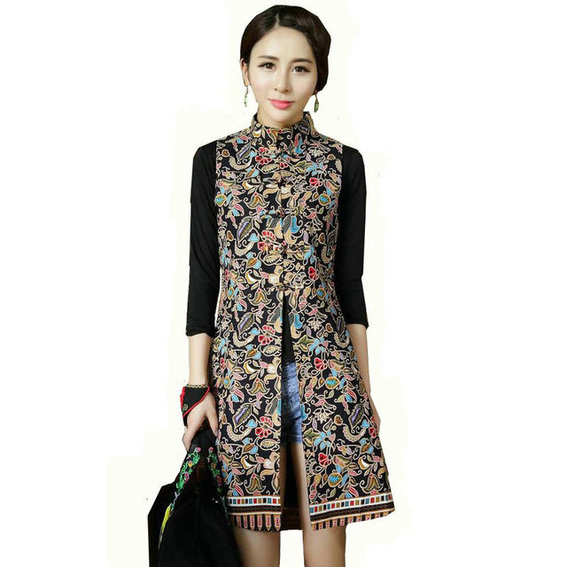 2016 New Autumn Fashion Vintage Women's Trend Coat Casual Long Outerwear Loose Clothing For Lady Female Sleeveless Outerwear
