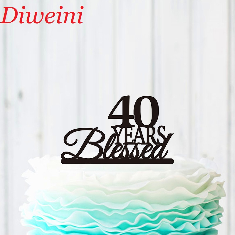 Fabulous 40 Years Blessed Cake Topper 40Th Birthday Cake Topper 40Th Funny Birthday Cards Online Alyptdamsfinfo