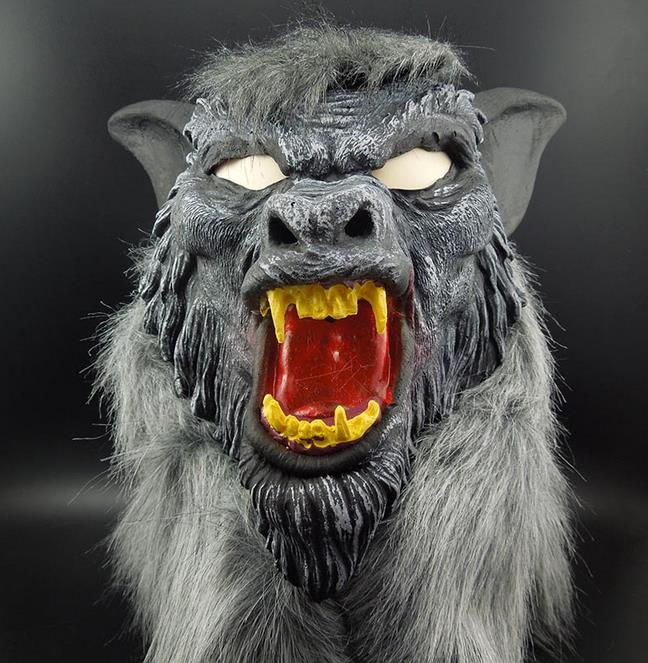 New Creepy Gray Werewolf Wolf Mask Fancy Dress Party Prop Cosplay Animal Head Costume Toys For Halloween Props
