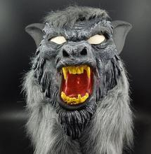 New Creepy Gray Werewolf Wolf Mask Fancy Dress Party Prop Cosplay Animal Head Mask Costume Toys For Halloween Cosplay Props