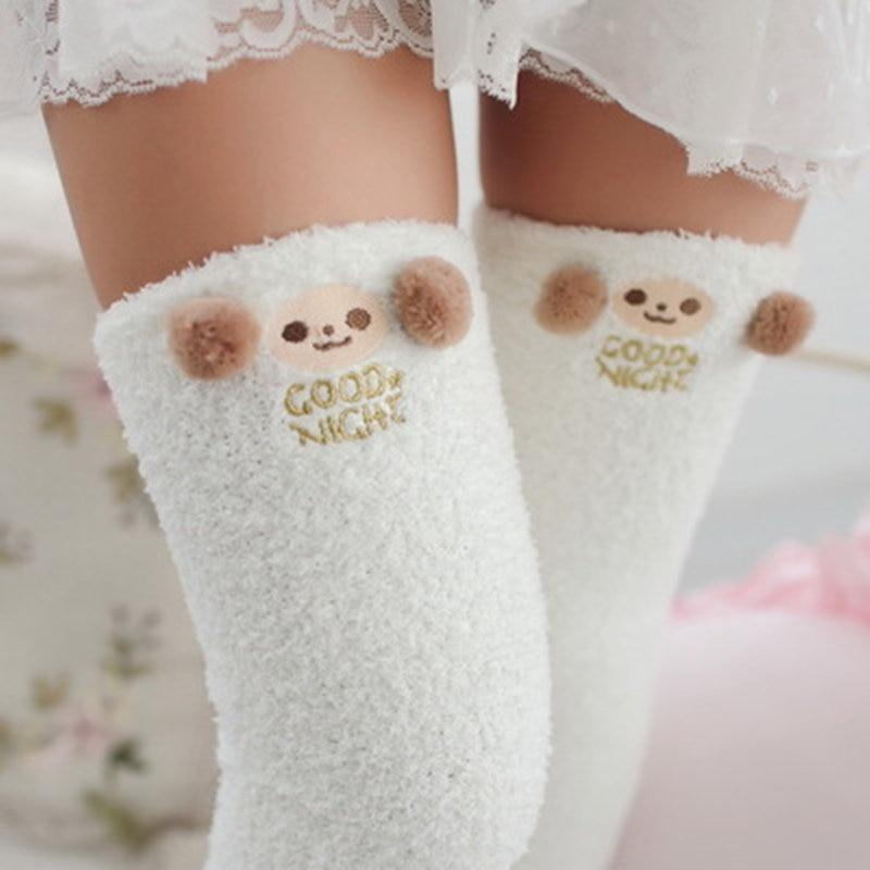 Japanese Mori Girl Animal Modeling Knee Socks Striped Cute Lovely Kawaii Cozy Long Thigh High Socks Compression Winter Warm Sock wallet