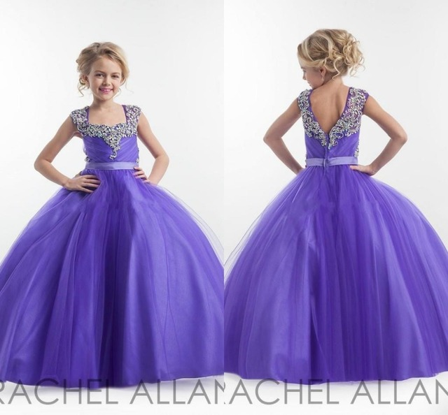 Kids Ball Gowns Girls Pageant Dresses 2015 Purple Beaded Crystal ...