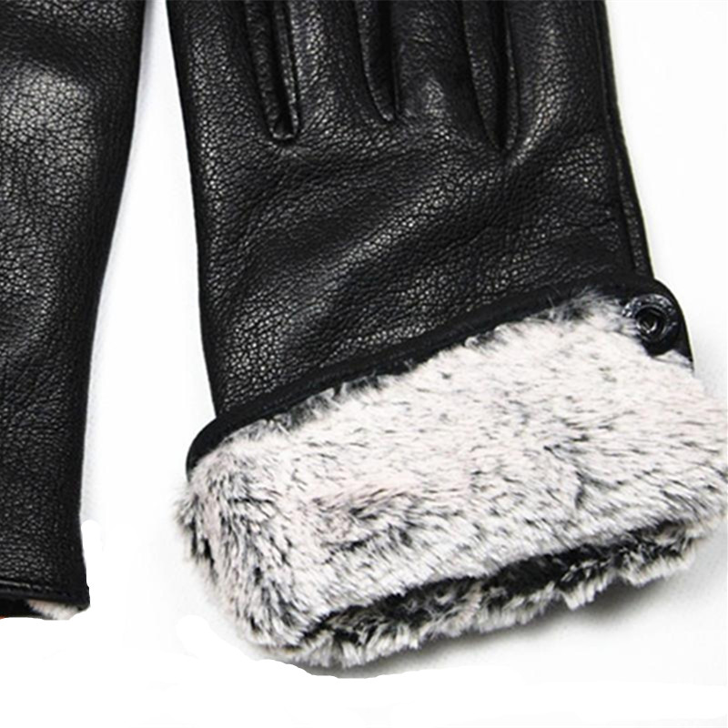 Image 3 - Guantes Winter Gloves Men's Leather Gloves Deerskin Thickened Water Wave Style Fake Lining Autumn And Winter Warm Free Shipping-in Men's Gloves from Apparel Accessories on AliExpress
