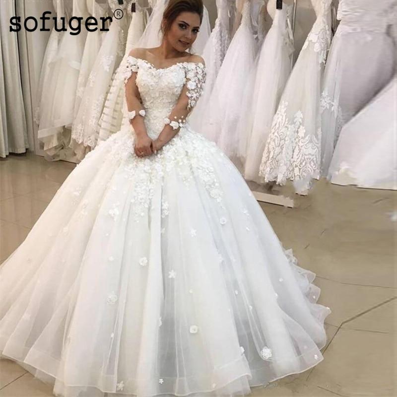 Princess Appliques Ball Gown Half Sleeves Arabic African 2019 Muslim Arabic Wedding Dress Boho Sofuge Vestido De Noiva