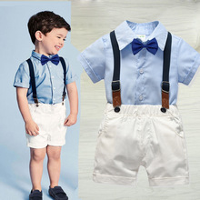 Summer 2019 Baby Boy Clothes Cotton Short Sleeve Kids Clothes Set Shirt+Pants Infant Clothes Baby Suit Boys Clothes Gentleman baby boy clothes summer newborn baby boys clothes set cotton baby clothing suit shirt pants plaid infant clothes set