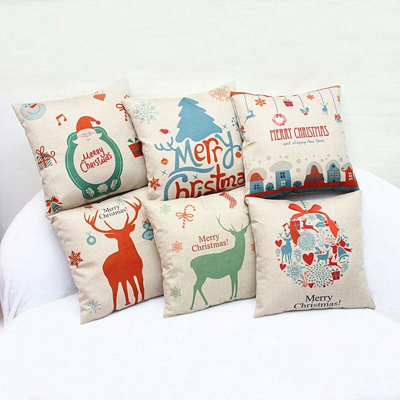 Christmas Pillow Cover Vintage Christmas Pillowcase for Home 2016 Natal Feliz Navidad Decoracion Kerst New Animal Linen Pillows-in Pillow Case ...