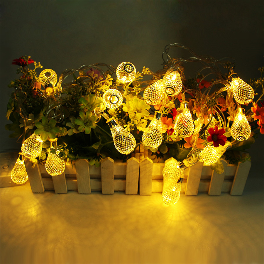 Image 4 - 4M LED Garland Light 20pcs Metal Drop Fairy String Light Christmas Decoration 8 Modes 220V Outdoor Patio Wedding Party Light-in LED String from Lights & Lighting on