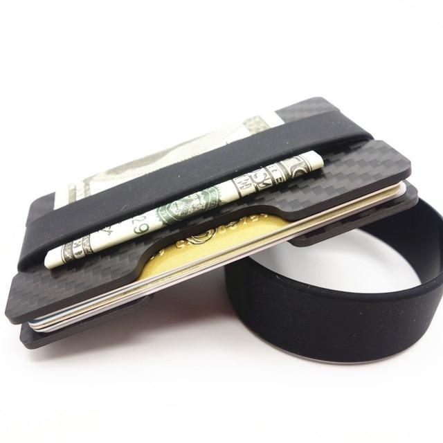 Carbon Fiber Credit Card Holder Slim Rfid Blocking Band Wallets