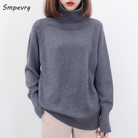 Smpevrg selling women sweaters and pullovers high collar long sleeve cashmere sweater woman knitted autumn winter 2017 European