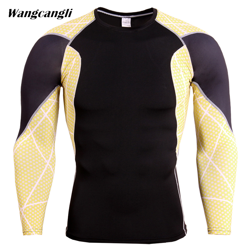 Mens 3D Fitness Wear Tracksuit Mens Compression Shirts Bodybuilding Skin Tight Flower Arm Print Men Fitness Clothes Wangcangli