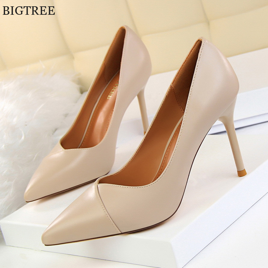 BIGTREE 9CM Women Office Shoes Shallow Concise PU ...