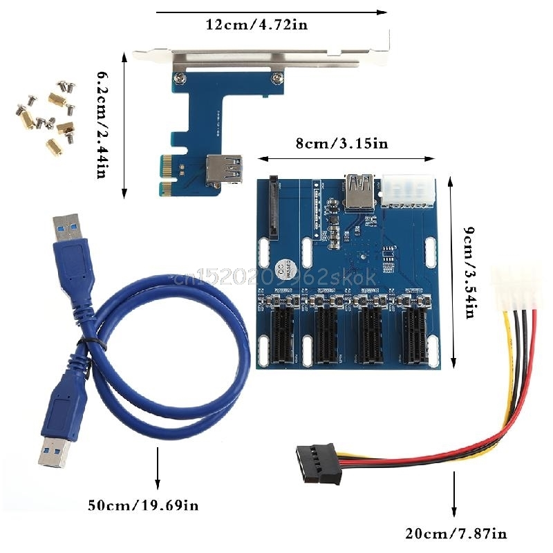 1 Port PCI-E 1X To 4 Slot 1X Switch Multiplier Expander HUB Expansion Riser Card #H029# 1pcs pci e express 1x to 4 port 1x switch splitter multiplier hub riser card with usb 3 0 cable