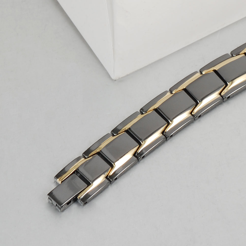 Wollet Jewelry 22cm Gold Black Color Healing Energy Double Row Magnetic Alloy Bracelet for Men
