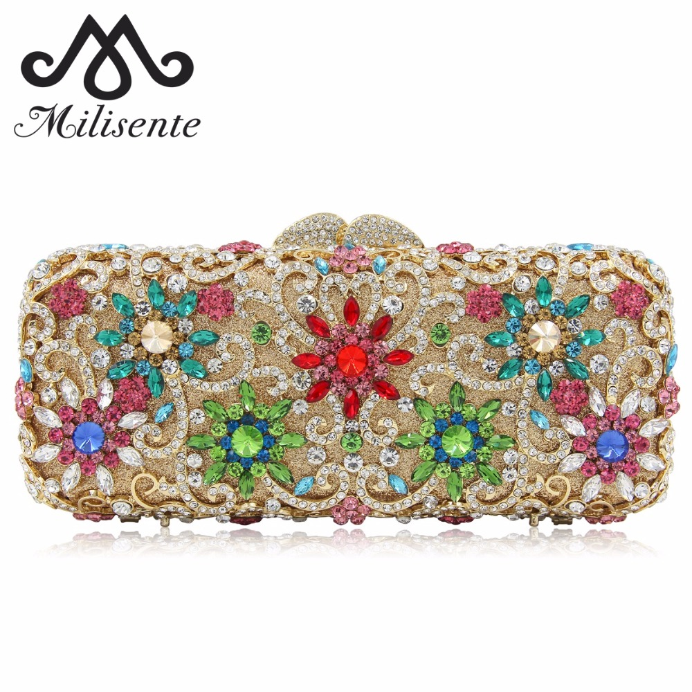 Milisente New Design Luxury Flower Crystal Women Dinner Banquet Evening Bags Ladies Wedding Day Clutches Party Purses 2017 new crystal women evening bags luxury diamonds bride wedding party dinner bag handbag handbags purses ladies day clutches