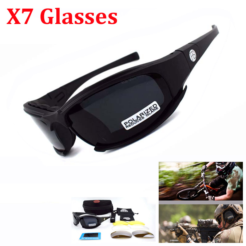 Outdoor Sport Tactical Glasses X7 C5 Polarized Sunglasses Airsoft Paintball Military Goggles Hunting Hiking Protection 4 Lens|Hiking Eyewears|   - title=
