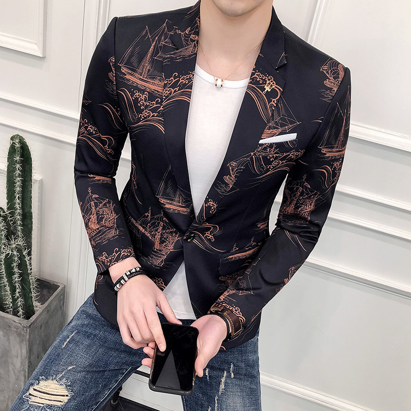 BOO new mens spring 2018 China printed suit city boy Youth joker suit