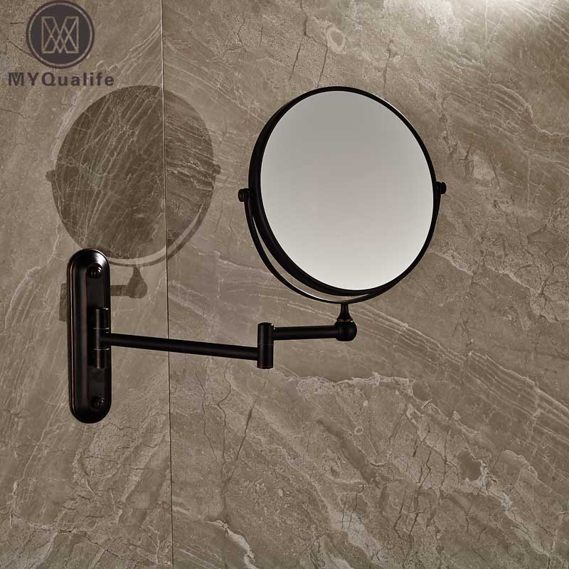 Bathroom Magnifying Mirror Extending Wall Mounted Double Side Round Folding Make Up Shaving Mirror silver extending 8 inches cosmetic wall mounted make up mirror shaving bathroom mirror 5x magnification