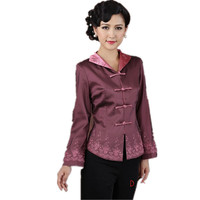 Brown Chinese Women's Satin Long Sleeve Jacket Classic Style Turn down collar Embroidery Floral Tang Suit Coat Size S TO 3XL