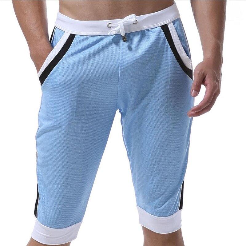 WJ Летние повседневные спортивные шорты, мужские брюки, эластичные Брендовые мужские капри, модные облегающие спортивные шорты длиной до колен, быстросохнущие шорты для тренировок - Цвет: Небесно-голубой