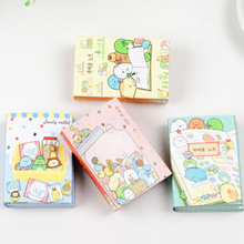 лучшая цена 1pack/lot Cartoon Kawaii Animal Fold Stationery Memo Sticky Removable Paper Memo Pad Reminder Label For School Office Supplies