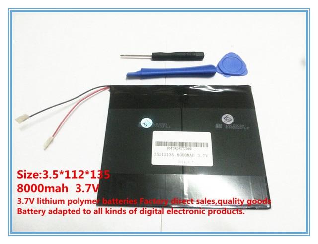 3.7 V, 8000 mAh, polimero agli ioni di litio/Li-Ion per tablet pc, MID, PDA, FAI DA TE per Sanei N10 Ampe A10 Quad Core, HKC T90 Dual Core