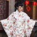 Традиционные японские дамы длинные кимоно платья 2016 сексуальная печати женщины лето горячие продажа japoneses новый атлас реальные фото