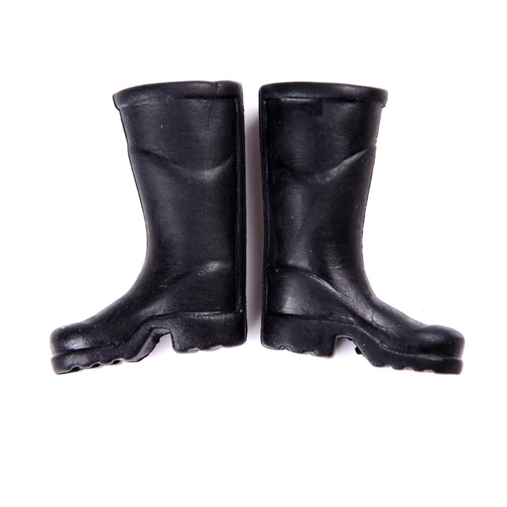 Cute Miniature Dollhouse 1 Pair Black Rain Boots Shoes For 1:6 1:12 Doll Gift \