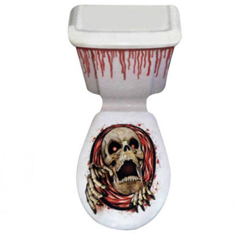 Хэллоуин ужас череп унитаза стены Стикеры съемный Наклейки для маленьких Спальня Гостиная украшения